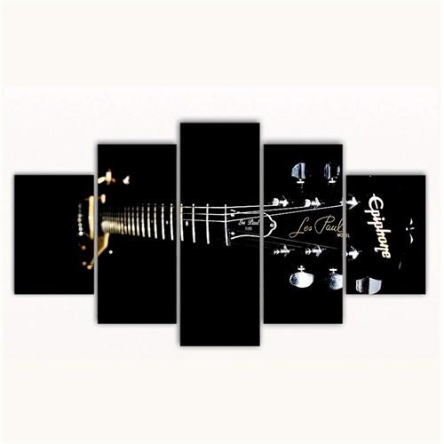 Tictac 5 Parça Kanvas Tablo - Siyah Gitar - 125X75 Cm