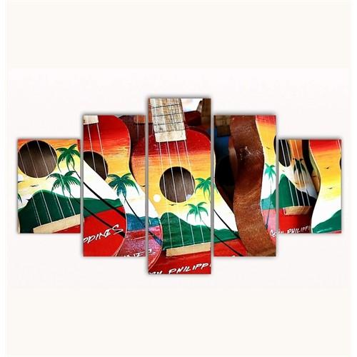 Tictac 5 Parça Kanvas Tablo - Renkli Gitarlar 2 - 100X60 Cm