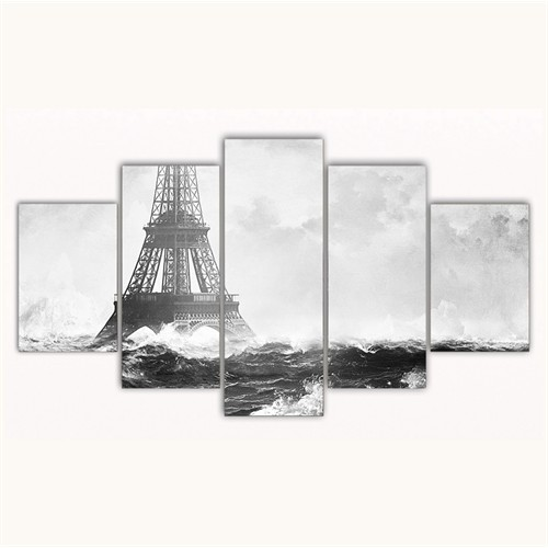 Tictac 5 Parça Kanvas Tablo - Eyfel Ve Okyanus - 125X75 Cm