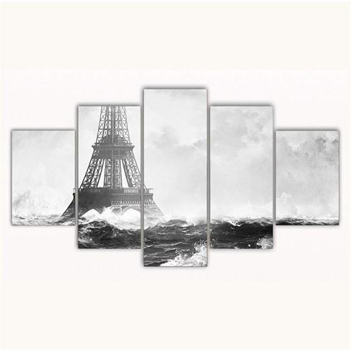 Tictac 5 Parça Kanvas Tablo - Eyfel Ve Okyanus - 100X60 Cm