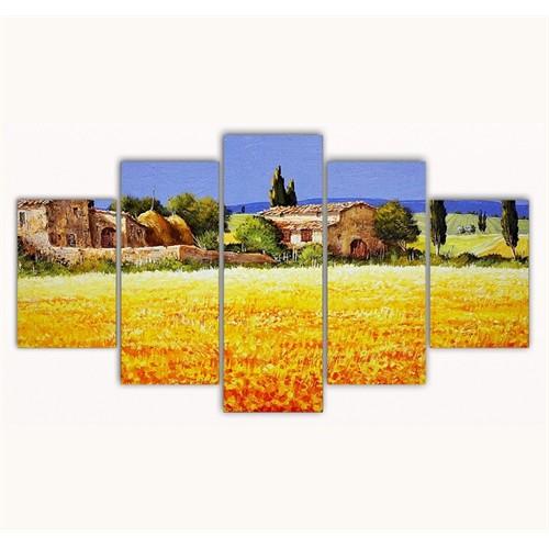 Tictac 5 Parça Kanvas Tablo - Başak Tarlası - 125X75 Cm