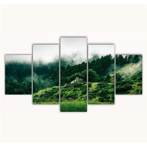 Tictac 5 Parça Kanvas Tablo - Yeşil Orman - 125X75 Cm