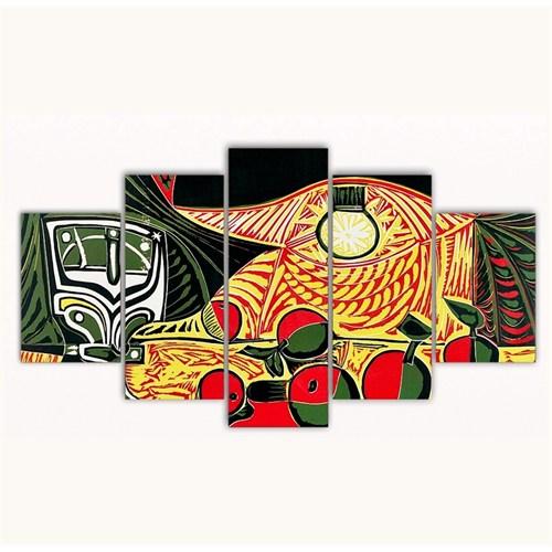Tictac 5 Parça Kanvas Tablo - Picasso Masadaki Meyveler - 100X60 Cm