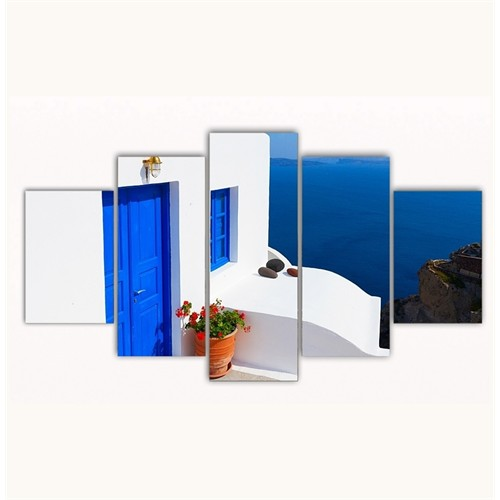 Tictac 5 Parça Kanvas Tablo - Ege Evleri - 125X75 Cm