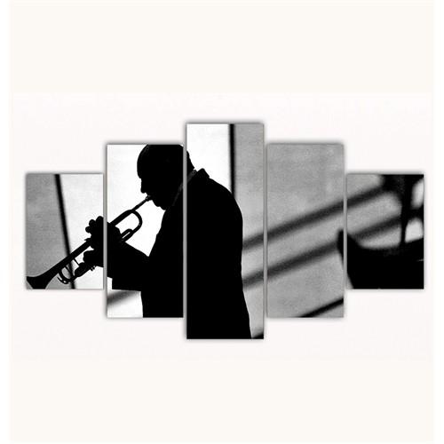 Tictac 5 Parça Kanvas Tablo - Trompet Ustası - 125X75 Cm