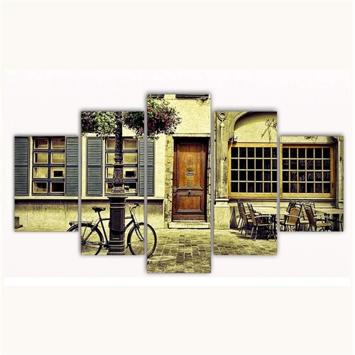 Tictac 5 Parça Kanvas Tablo - Sokaktaki Bisiklet - 125X75 Cm