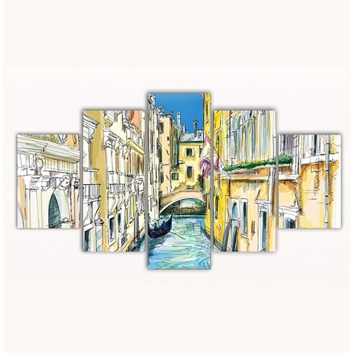 Tictac 5 Parça Kanvas Tablo - Venedik Kanalları - 125X75 Cm