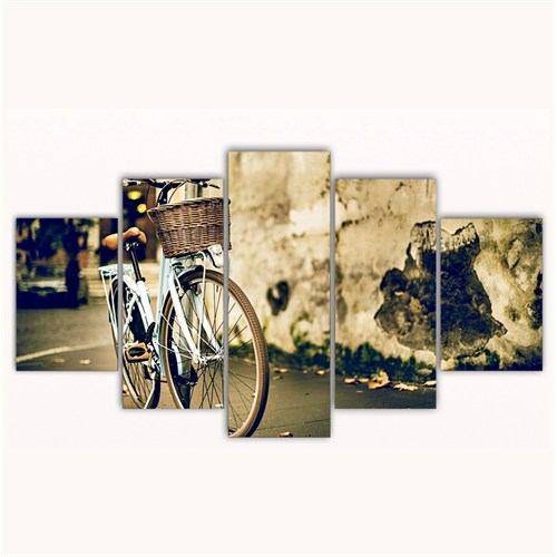 Tictac 5 Parça Kanvas Tablo - Mavi Bisiklet - 100X60 Cm