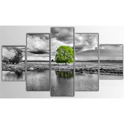 Tictac 5 Parça Kanvas Tablo - Yeşil Ağaç - 125X75 Cm
