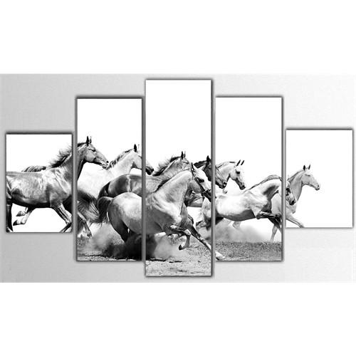 Tictac 5 Parça Kanvas Tablo - Koşan Atlar - 100X60 Cm