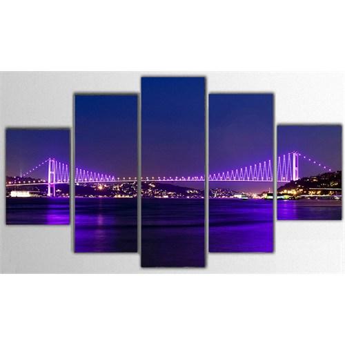 Tictac İstanbul - 5 Parça Kanvas Tablo - 100X60 Cm