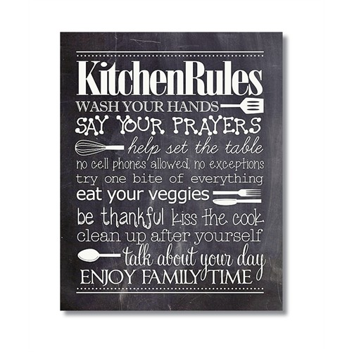 Tictac Kitchen Rules Kara Tahta Kanvas Tablo - 50X75 Cm