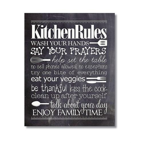 Tictac Kitchen Rules Kara Tahta Kanvas Tablo - 60X90 Cm