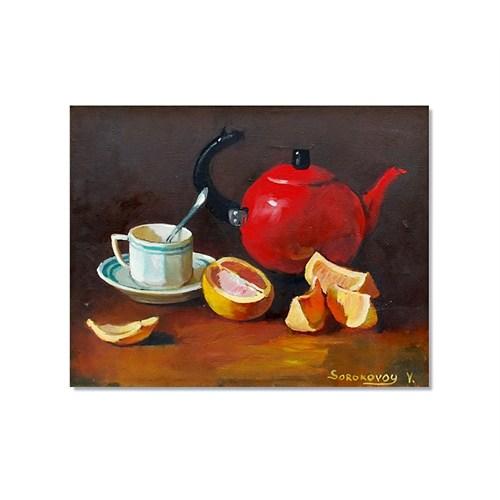 Tictac Kırmızı Çaydanlık Kanvas Tablo - 50X75 Cm