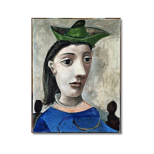 Tictac Picasso Yeşil Şapkalı Kadın Kanvas Tablo - 40X60 Cm