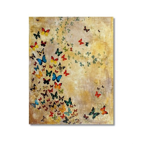 Tictac Rengarenk Kelebekler Kanvas Tablo - 50X75 Cm