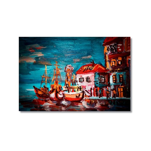 Tictac Renkli Tekneler Kanvas Tablo - 50X75 Cm