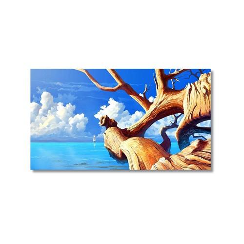 Tictac Denize Uzanan Ağaç Kanvas Tablo - 50X75 Cm