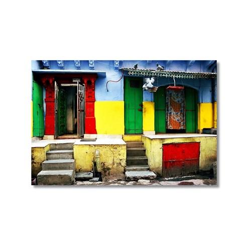Tictac Renkli Binalar Kanvas Tablo - 40X60 Cm