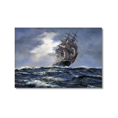 Tictac Fırtınada Yelkenli Kanvas Tablo - 50X75 Cm