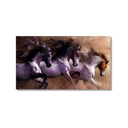Tictac Koşan Atlar 3 Kanvas Tablo - 60X90 Cm