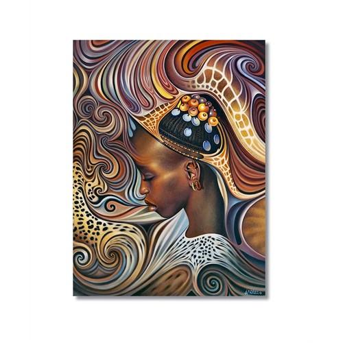 Tictac Afrikalı Kadın Kanvas Tablo - 50X75 Cm