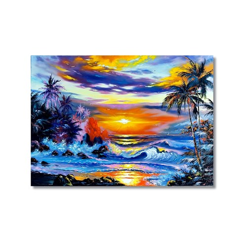 Tictac Dalgalar Ve Güneş Kanvas Tablo - 50X75 Cm