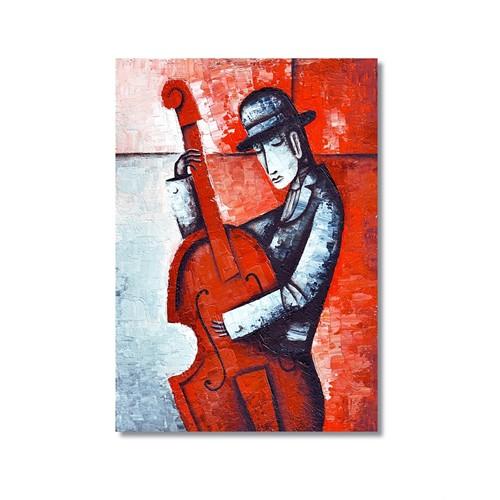 Tictac Dekoratif Müzik Serisi - Kontrbas Kanvas Tablo - 60X90 Cm