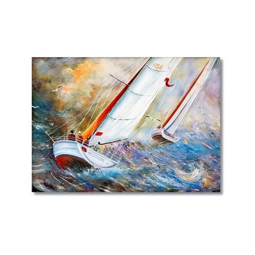 Tictac Yelkenli Yatlar Kanvas Tablo - 40X60 Cm