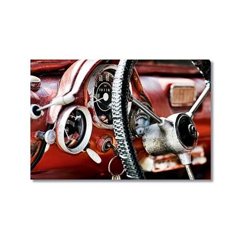Tictac Kırmızı Eski Araba Kanvas Tablo - 60X90 Cm