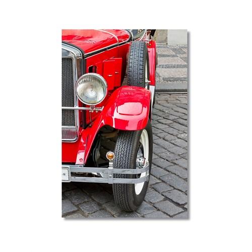 Tictac Kırmızı Antika Araba Kanvas Tablo - 40X60 Cm