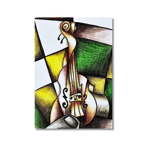 Tictac Picasso Keman Kanvas Tablo - 50X75 Cm