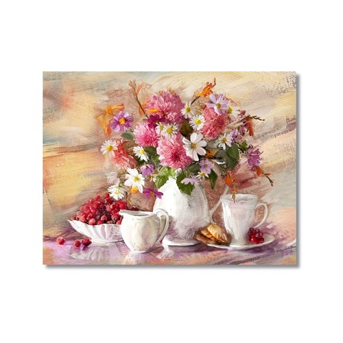 Tictac Vazoda Çiçekler Kanvas Tablo - 40X60 Cm