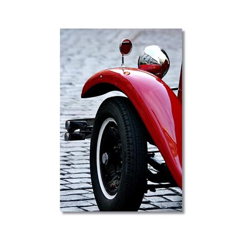 Tictac Kırmızı Eski Araba 2 Kanvas Tablo - 50X75 Cm
