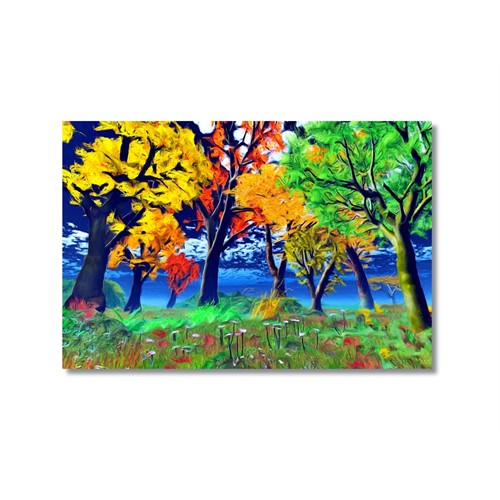 Tictac Renkli Ağaçlar Kanvas Tablo - 40X60 Cm