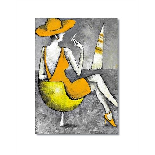 Tictac Sahildeki Kadın Kanvas Tablo - 40X60 Cm