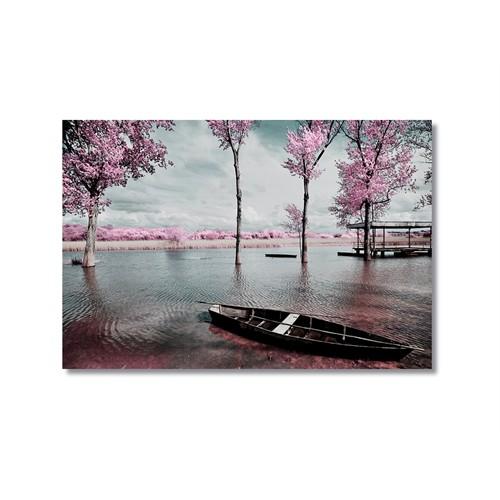 Tictac Mor Ağaçlı Göl Kanvas Tablo - 40X60 Cm