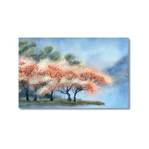 Tictac Pembe Yapraklı Ağaçlar Kanvas Tablo - 60X90 Cm