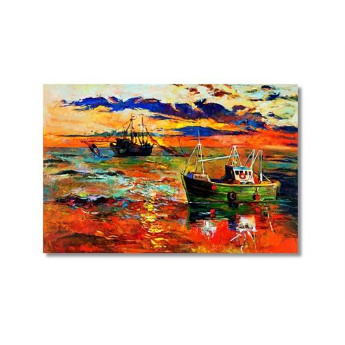 Tictac Balıkçı Tekneleri Kanvas Tablo - 60X90 Cm
