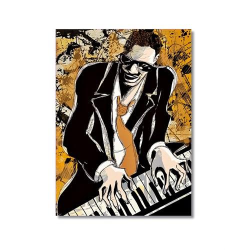 Tictac Jazz Pianist Kanvas Tablo - 60X90 Cm