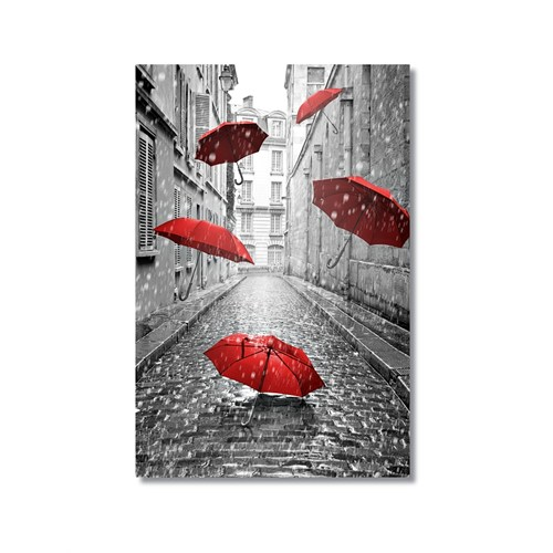 Tictac Kırmızı Şemsiyeler Kanvas Tablo - 50X75 Cm