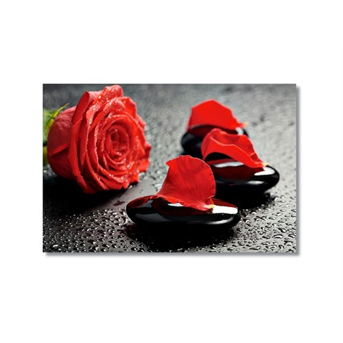 Tictac Kırmızı Yapraklar Kanvas Tablo - 60X90 Cm