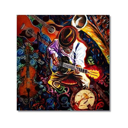 Tictac Gitarist Ve Enstrümanlar Kanvas Tablo - 50X50 Cm