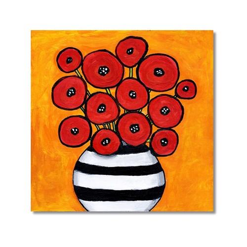 Tictac Kırmızı Çiçekler Kanvas Tablo - 60X60 Cm