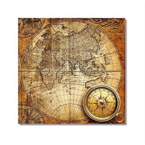 Tictac Antik Harita 4 Kanvas Tablo - 50X50 Cm