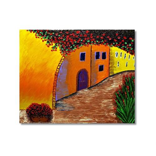 Tictac Çiçekli Sokak Kanvas Tablo - 70X70 Cm