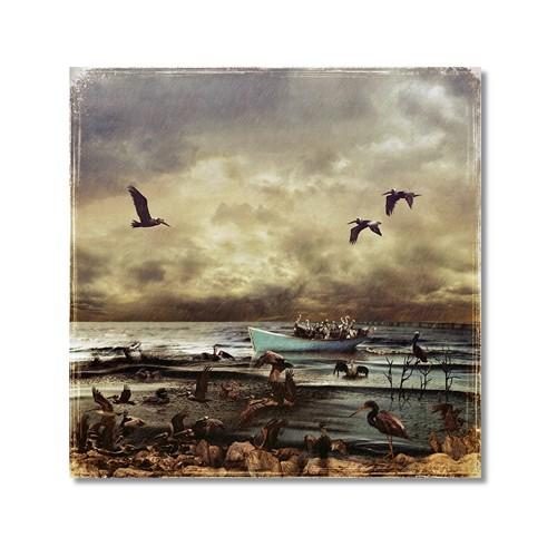 Tictac Kuşlar Ve Sandal Kanvas Tablo - 70X70 Cm