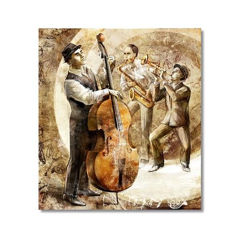 Tictac Jazz Müzisyenleri Kanvas Tablo - 70X70 Cm