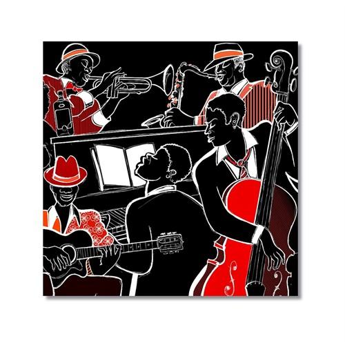 Tictac Kırmızı Siyah Jazz Kanvas Tablo - 70X70 Cm