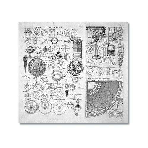 Tictac Astronomi Kanvas Tablo - 70X70 Cm